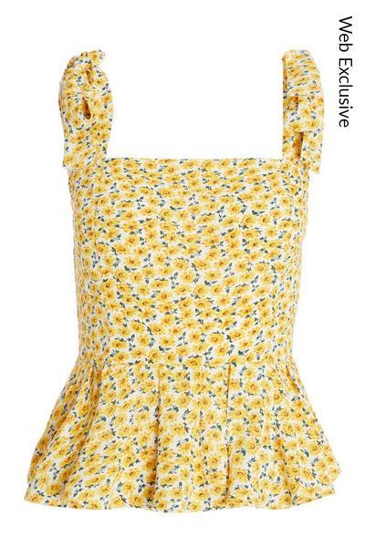 Yellow Floral Peplum Top